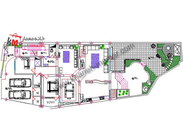پلان ویلایی رایگان |نما مدرن |پلان34.19×11 348-2