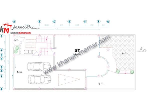 نقشه ساختمان 2 طبقه پیلوت پارکینگ