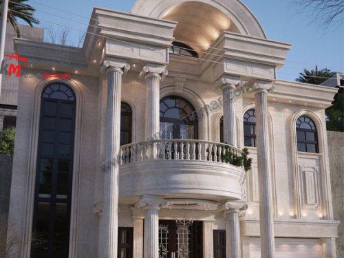 نمای خانه دوبلکس دو طبقه فوق العاده شیک به سبک کلاسیک