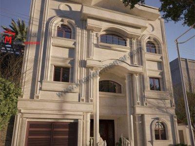 نمای ساختمان سه طبقه بتنی