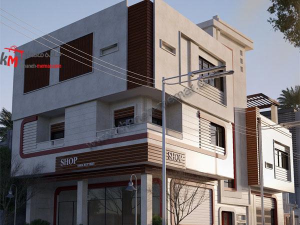 نمای نقشه ساختمان تجاری مسکونی