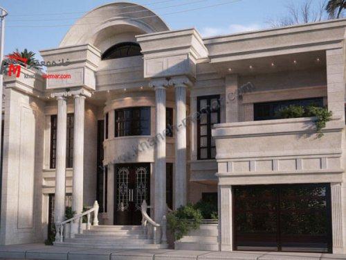 نمای نئوکلاسیک ساختمان با سنگ سفید