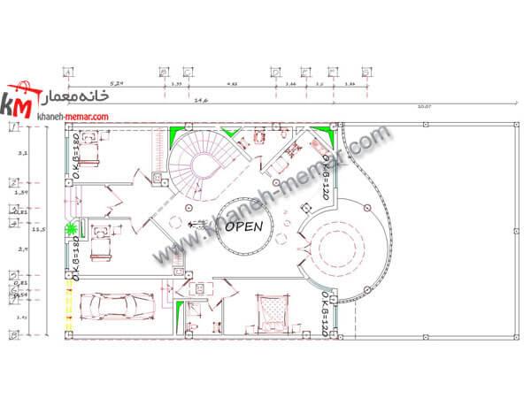 طبقه اول نقشه خانه دوبلکس شیک 25×12
