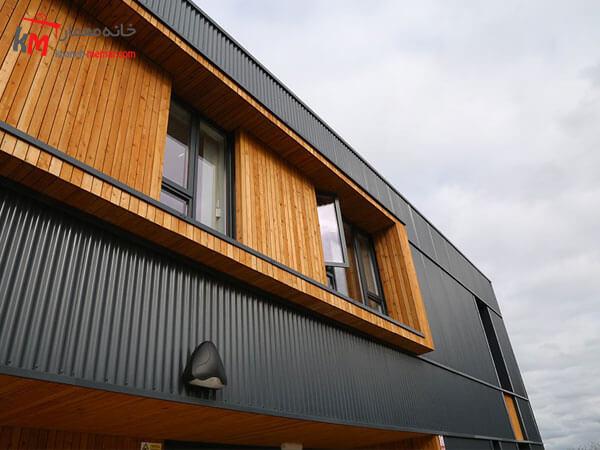 متریال چوب در نما ساختمان