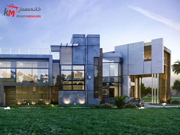 نمای مدرن طراحی شده با لستفاده ار متریال شیشه