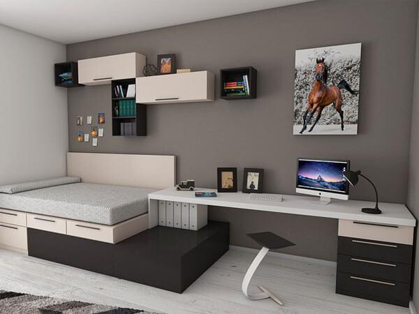 طراحی تخت خواب و میز کار کنار هم ایجاد یک نقطه کانونی