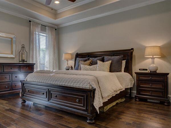تخت خواب تمام چوب تفکیک فضای کار از محل خواب