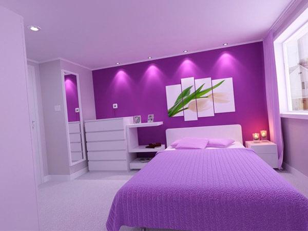 استفاده از رنگهای یاسی برای اتاق خواب