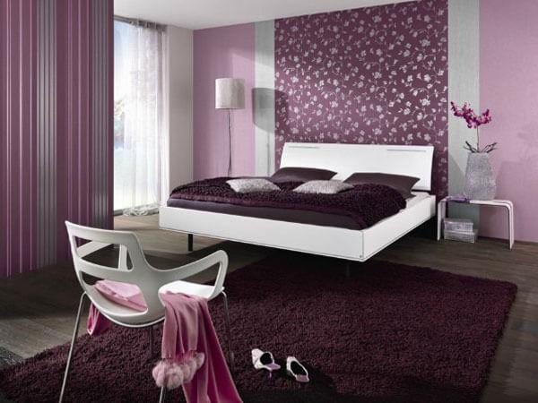 تزیین اتاق خواب عروس با رنگ بنفش