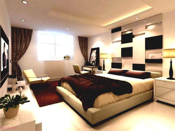 دیزاین اتاق خواب تلفیقی از رنگهای کرم و قهوه ای