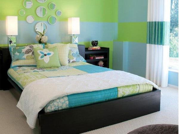 طراحی اتاق با رنگ سبز و آبی