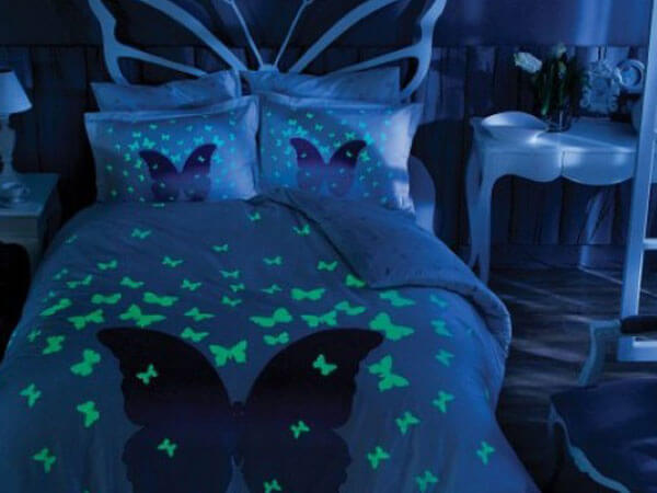 ایده اتاق خواب عروس با آبی طرح دار