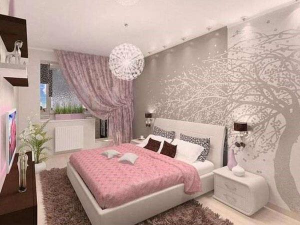 سرویس خواب با پرده و کاغذدیواری زیبا