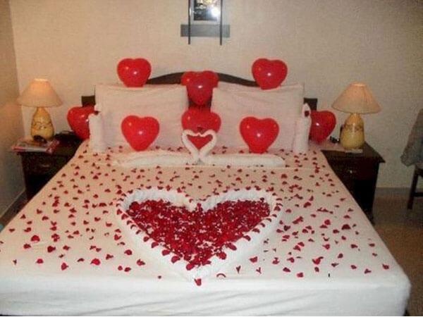 تزیین خواب عروس به مناسبت ولنتاین