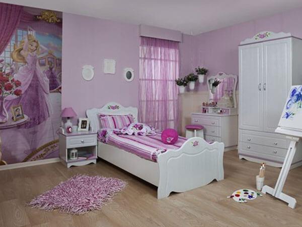 تخت و رو تختی اتاق خواب دخترانه اتاق خواب دخترانه