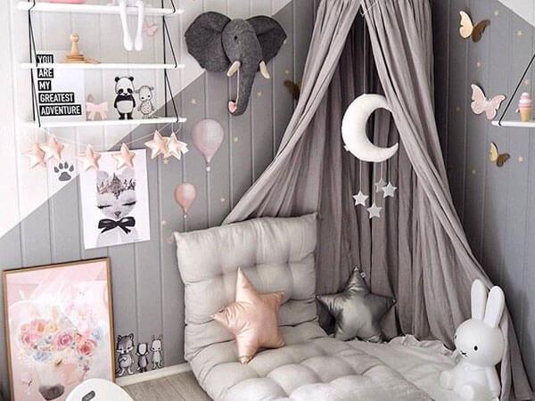 اتاق کودک با رنگ خاکستری دیزاین اتاق کودک