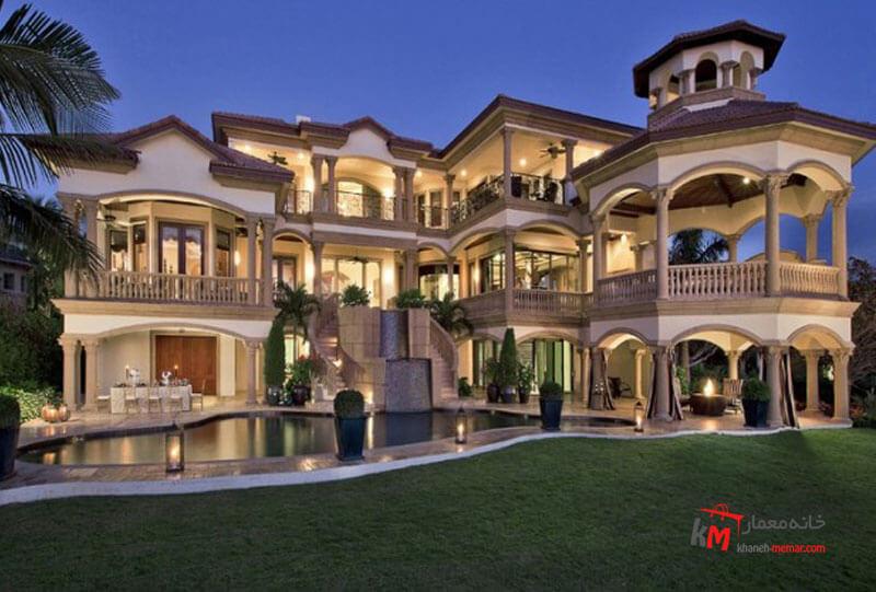 نمای ساختمان با نورپردازی بی نظیر Classic view مصالح متداول نمای کلاسیک