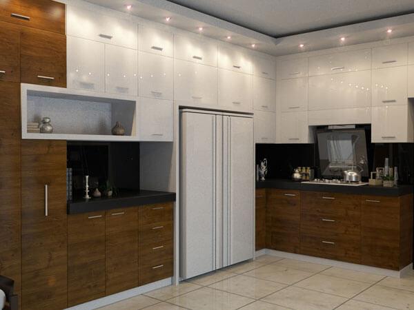 دکور آشپزخانه با طراحی تمام دیوار