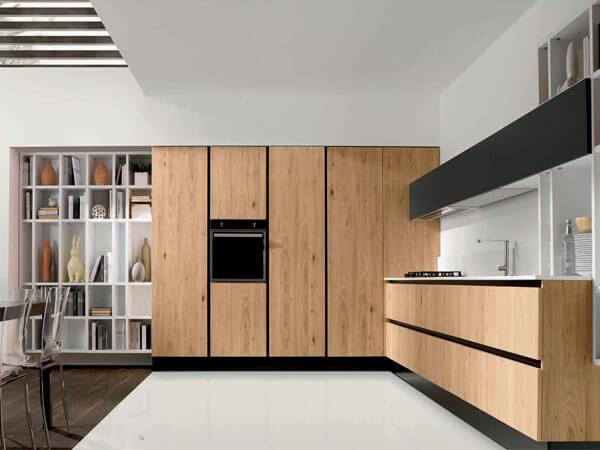 دیزاین آشپزخانه با رنگ چوب