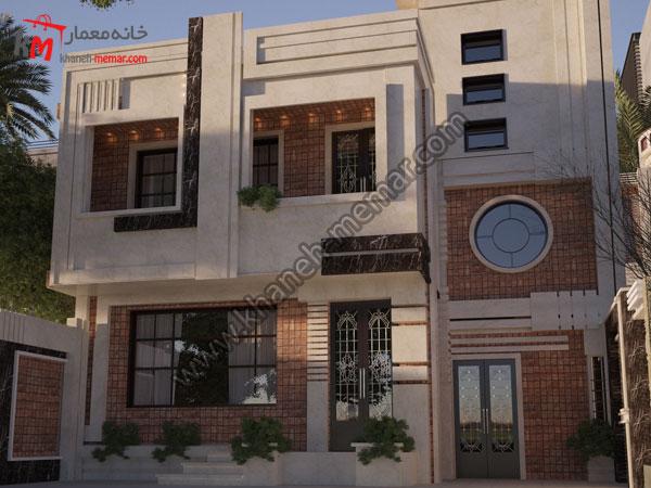 نما ساختمان دو طبقه به سبک مدرن