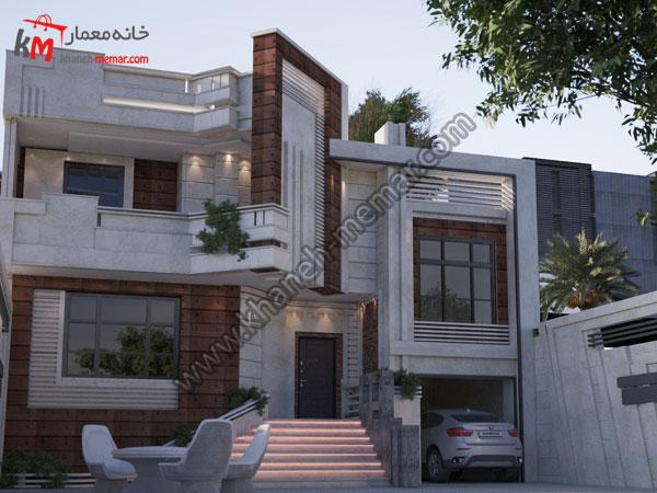نمای ساختمان مدرن با ترکیب سنگ و ترموود