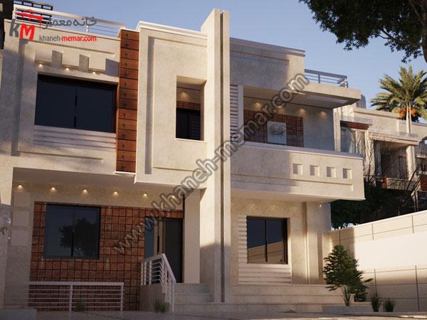 نما ساختمان با ترکیب سه متریال سنگ و آجر و ترموود