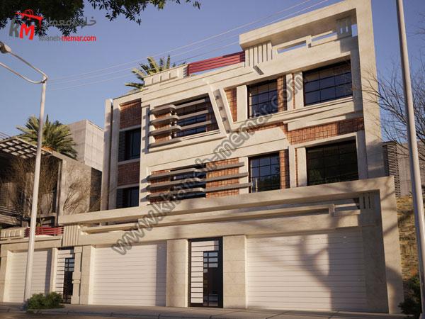 نمای ساختمان تجاری مسکونی با ترکیب سنگ و آجر
