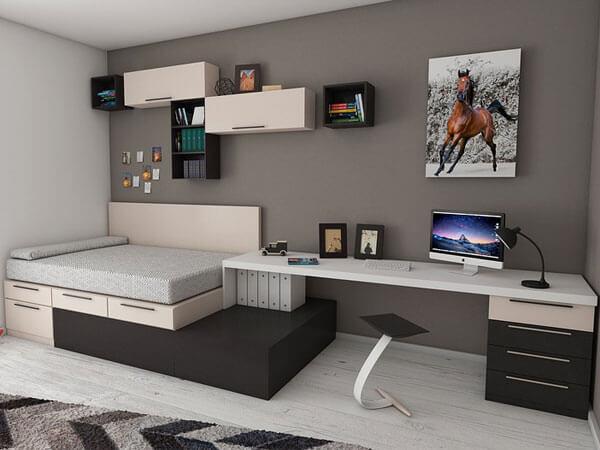 شلف های دیواری در اتاق خواب 4)طراحی دیوار با قفسه و شلفها
