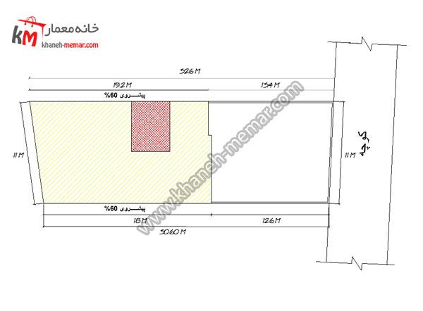 نقشه ساختمان یک طبقه11×32.6