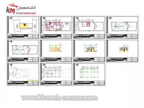 نقشه کامل ساختمان یک طبقه شیت بندی