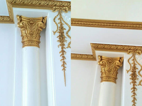 پتینه ورق طلا در سقف و ستون