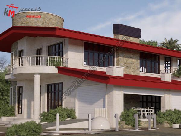 ساختمان ویلایی دو طبقه با سقف شیروانی