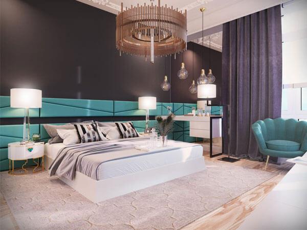 دکور اتاق خواب آبی سفید