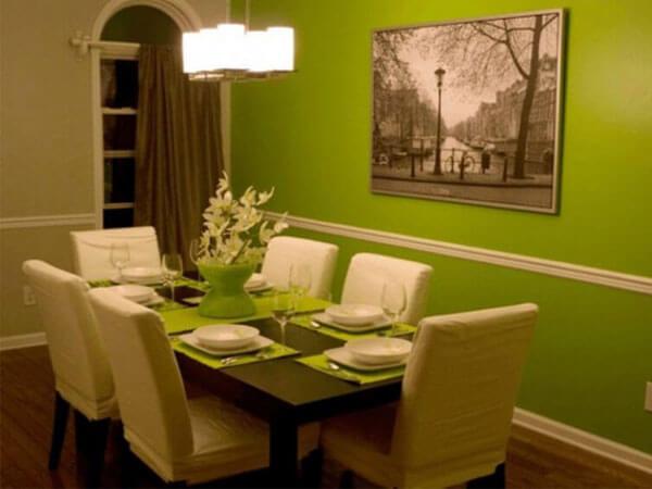 رکور اتاق ناهار خوری با رنگ سبز