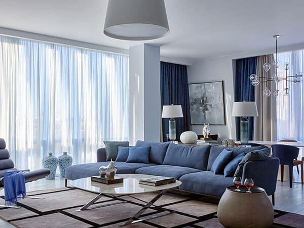 رنگ در دکوراسیون ترکیب رنگ آبی