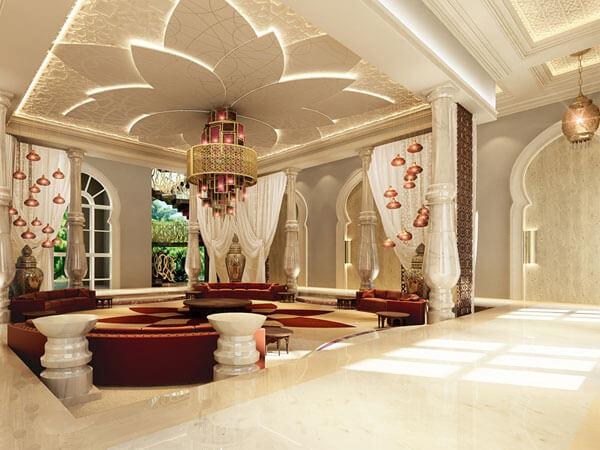 دکوراسیون داخلی نشیمن با ترکیب رنگ سفید و زرشکی