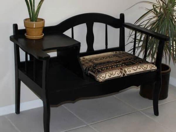 میز تلفن صندلی دار زیبا میز تلفن سلطنتی طلایی صندلی دار