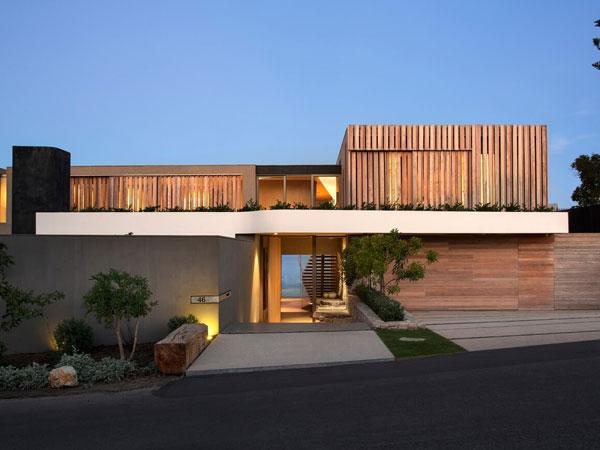 نمای ساختمان ویلایی با طراحی مدرن نمای ترموود و تاثیر آن بر سلامتی روانی