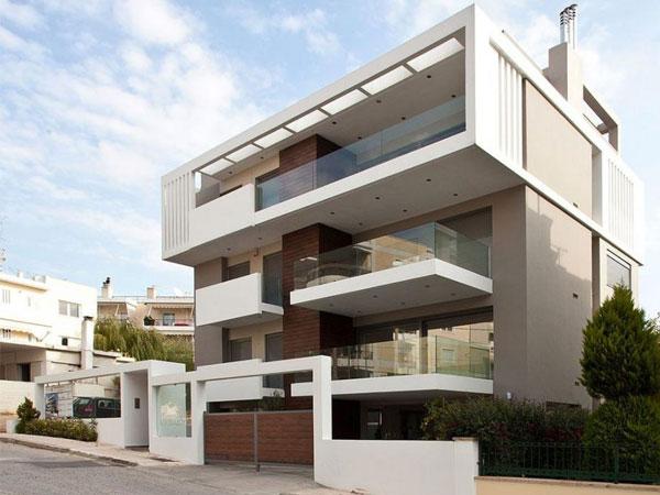 نمای ساختمان با ترکیب رنک سفید و قهوه ایی نمای ترموود و تاثیر آن بر سلامتی روانی