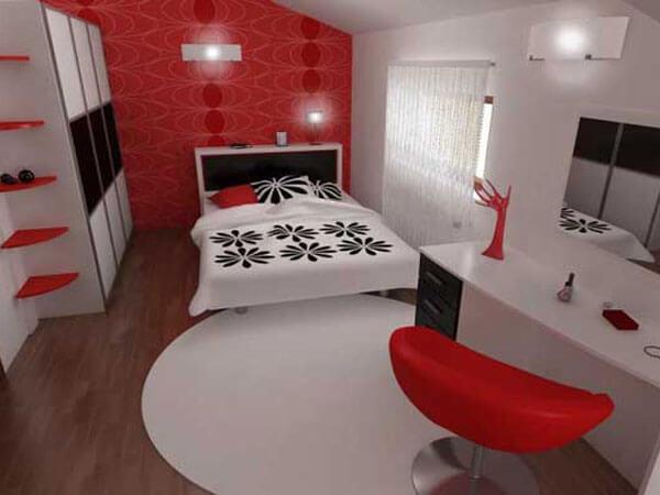 دکور اتاق خواب با رنگ قرمز
