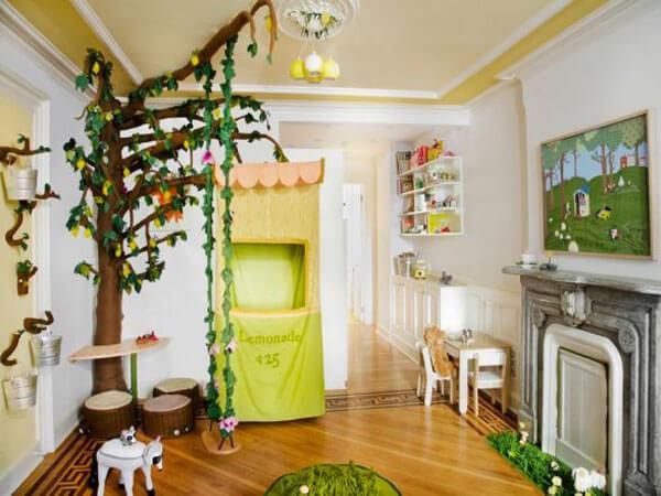 اتاق بازی کودک با تم طبیعت طراحی اتاق بازی کودک مطابق با رویای کودک
