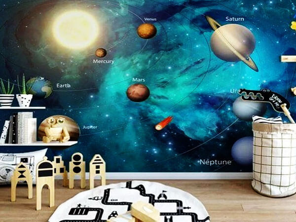 اتاق کودک الهام گرفته از فضا طراحی اتاق بازی کودک مطابق با رویای کودک