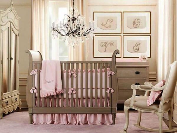 گهواره اتاق نوزاد به رنگ قهوه ایی لوازم و فضاهای ضروری اتاق کودک