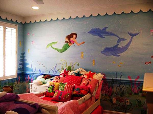 استفاده از نقاشی برای تزیین تزئین دیواردکور اتاق نوزاد