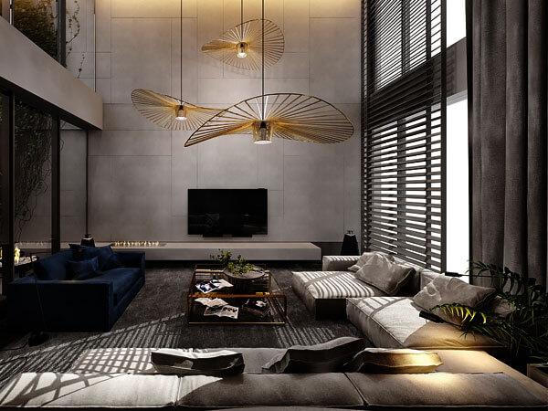 نورپردازی سالن با لوستر با پایه بلند