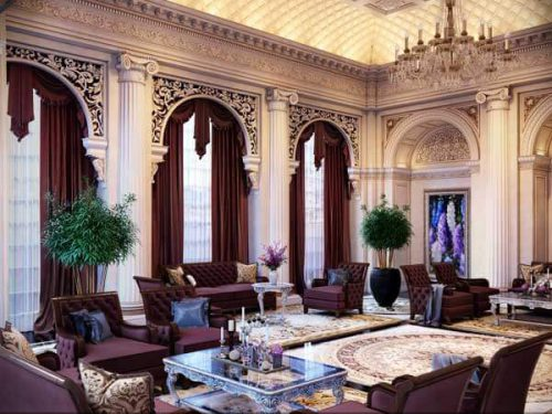 دکوراسیون کلاسیک و زیبا با مبلمان زرشکی