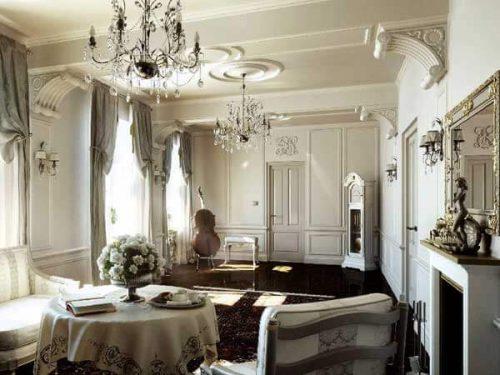 دکوراسیون داخلی ساختمان به سبک کلاسیک روشن