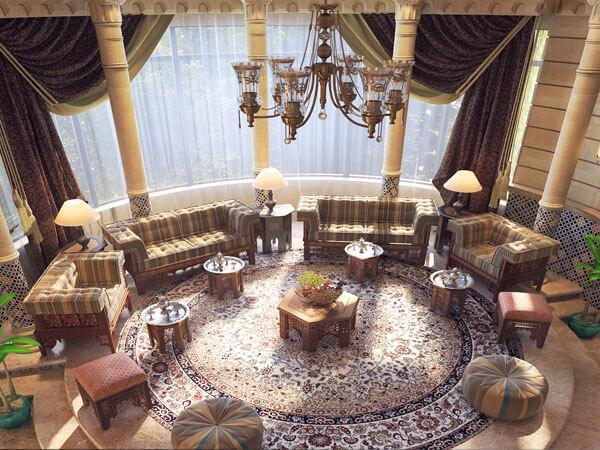 1)ایجاد نقطه کانونی در دکوراسیون پذیرایی فرش در دکوراسیون