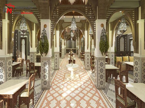 دکوراسیون داخلی رستوران به سبک کلاسیک شیک و زیبا