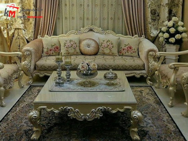 مبل سلطنتی شیک در سبک دکوراسیون کلاسیک مبلمان سلطنتی باشکوه زینت دهنده پذیرایی ایرانی
